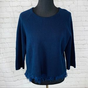 J Crew Collection Chiffon Fringe Sweater Navy Blue